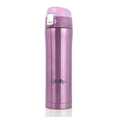 Lifesky Stainless Steel Vacuum Insulated Thermos Coffee Mug Travel Drink Bottle 16-Ounce (Purple) - Commute Coffee