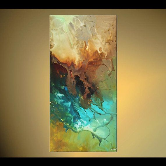 """Acrylic Modern Abstract Painting Contemporary Turquoise Teal Fine Art on Canvas Federations by Osnat - MADE-TO-ORDER - 48""""x24"""""""