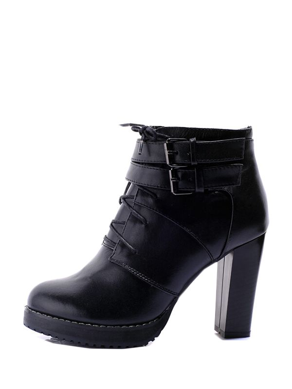 New In Round Toe Lace Up Leather Platform Boots