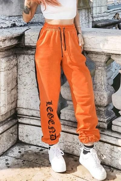 9f476b707742f Gothic Letters Side Lined Elastic Casual Jogger Pants   •C L O S E T ...