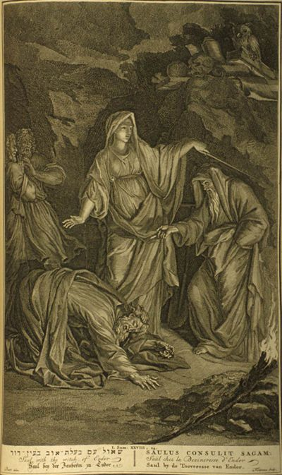 The Witch of Endor, 1754 (The word witch did not exist at the time the Endor story was written and is provided to modern readers by translation and therefore this story enters the witch mythology)