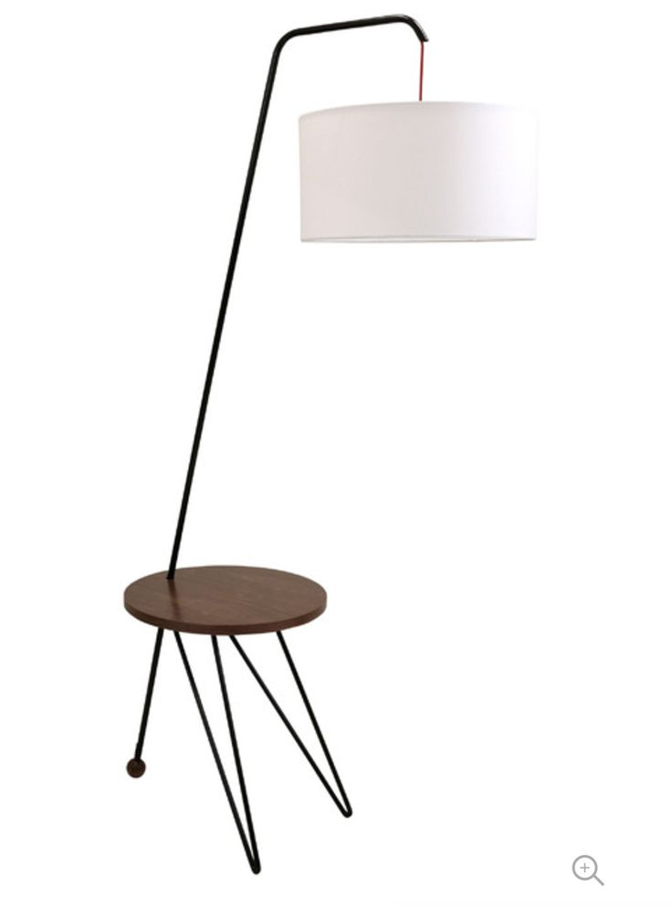 Stork Midcentury Floor Lamp With Walnut Accent Table