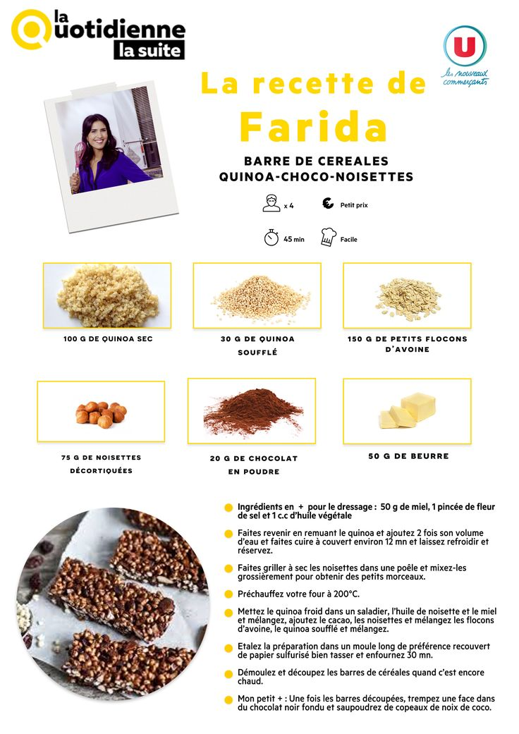La Quotidienne La Suite - Recette de Farida : Barre de céréales quinoa choco