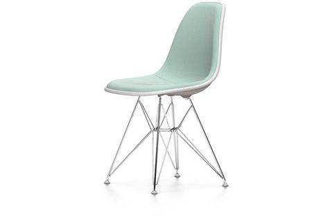 Vitra Eames Plastic Side Chair DSR. Mint/Elfenbein-Polster und Schale in Mauve Grau. Eine von vielen Möglichkeiten. Jetzt konfigurieren auf prooffice.de #stuhl #chair #design #mint