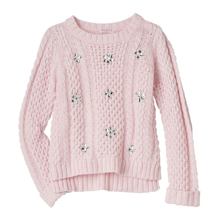 Design 365 Toddler Girl High-Low Cable Knit Sweater, Size: 2T, Light Pink
