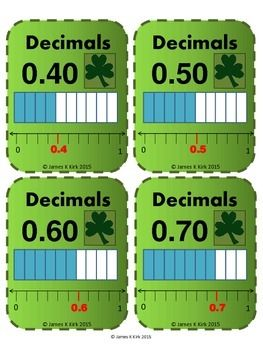 St Patrick's Day style decimals cards to print and laminate. Great resource.