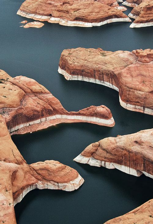 Lake Powell, a reservoir on the Colorado River, is the second largest man-mad reservoir in America /