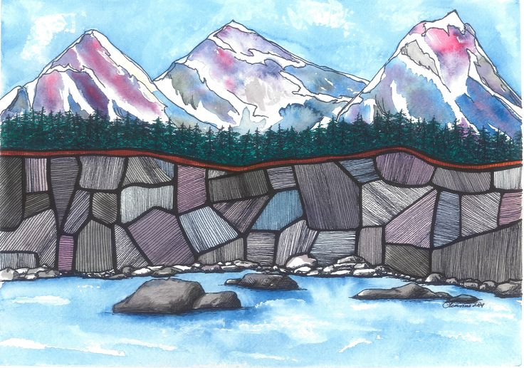 New Artwork. Blue Mountains Rock  Watercolor and Ink by LeannesArtStudio on Etsy