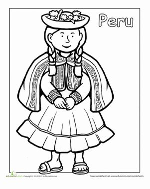Hispanic Heritage Month First Grade People Community & Cultures Worksheets: Multicultural Coloring: Peru