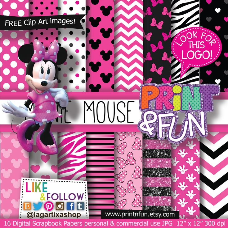 Minnie Mouse Digital Paper Patterns - Digital Papers and more!