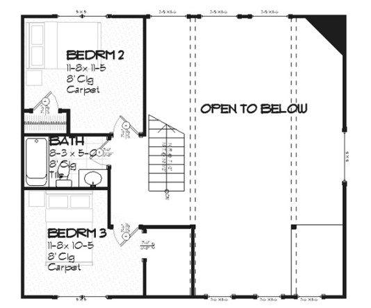 plano planta alta casa de dos plantas y tres dormitorios de 156 metros cuadrados