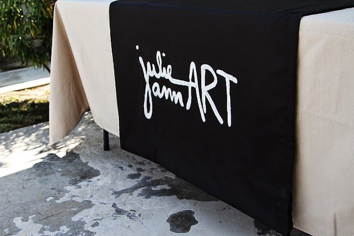 LOVE this idea of a paint stenciled BUSINESS NAME onto fabric for your Farmers Market or Craft Fair booth.