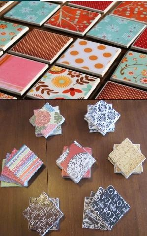 pinterest vs reality coasters such a great craft mod podge scrapbook paper onto tiles and glue. Black Bedroom Furniture Sets. Home Design Ideas