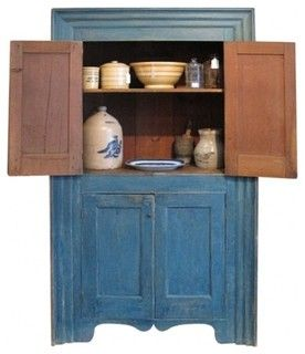 Stunning Hudson Valley Cupboard in Original Blue Paint farmhouse buffets and sideboards by EcoFirstArt