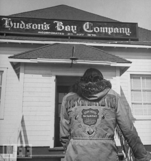"""Hudson's Bay Company post, date and location unknown. Many Métis were employed by """"The Bay"""", many more were customers, and many had an ambivalent view of the company and it's mercantile power. In fact, many dissatisfied Métis in the Northwest turned to trading regularly at American posts along the Missouri River in the mid-1840s as a result."""