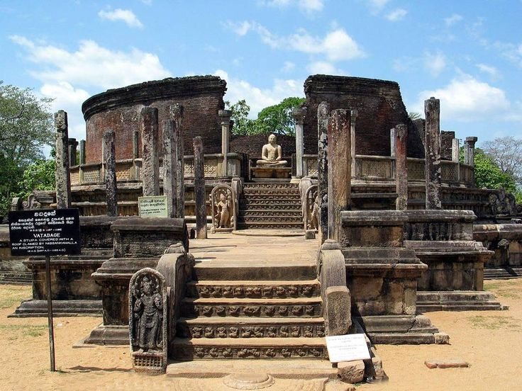 Vatadage - Polonnaruwa   This building is called a circular relic house. The middle of the shrine has a small stupa with four Buddha statues at four cardinal points.It has a roof supported by the circles of stone columns inside the shrine room.  #VisitSrilanka #Travel #srilanka