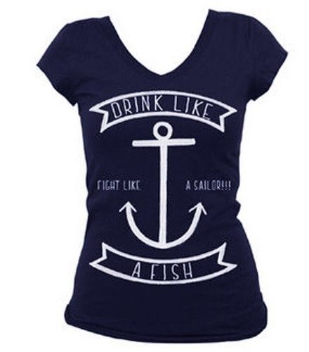 Steady Clothing Drink Like A Fish Fight Like A Sailor Anchor Shirt Top Navy Blue | eBay