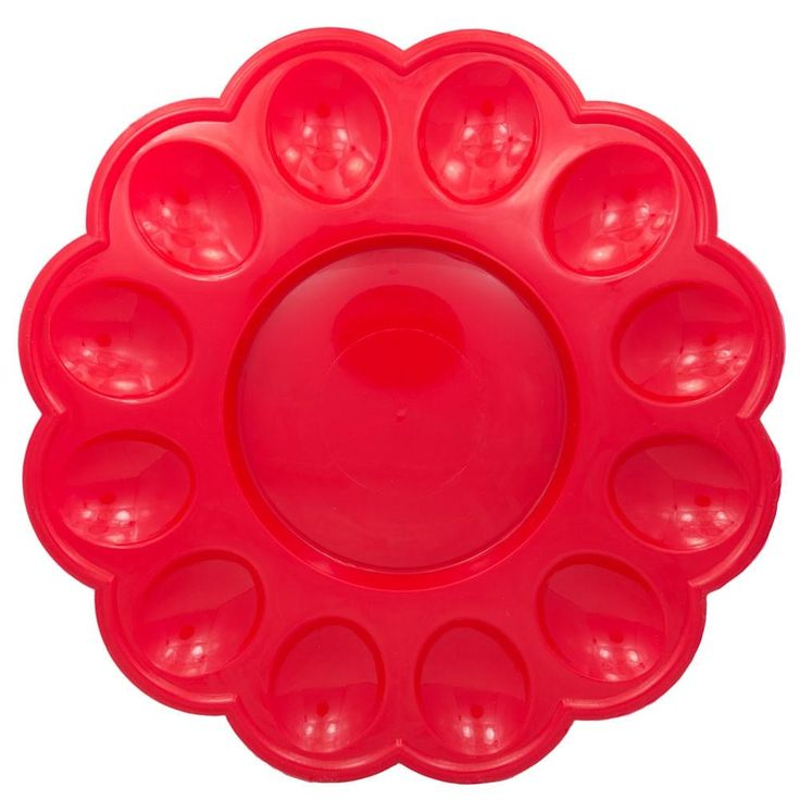 "9.5"" 12 Easter Eggs Red Plastic Tray Display"