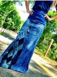 """Diamond Patchwork"" Long Denim Skirt"