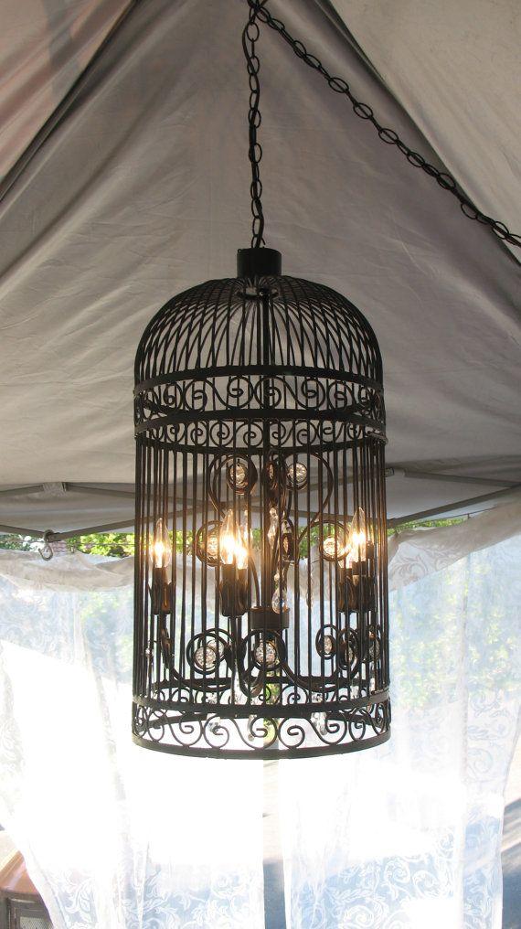 Black Iron Birdcage Chandelier Stunning by BeatriceroseCottage, $699.00