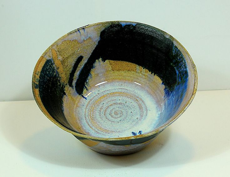 Pirjo Lautiainen, wheel thrown and anagama fired bowl, blue chun glaze, 2016