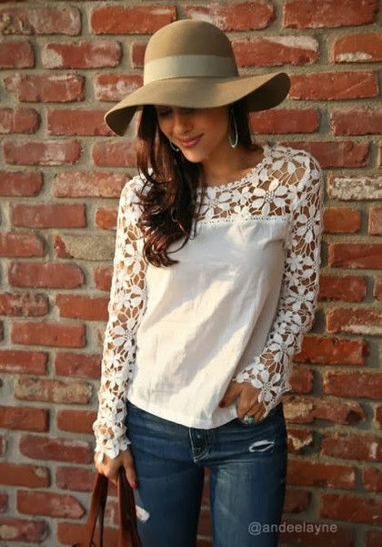 Cut Out Crochet Top. Be a trendsetter in this vintage-inspired beige top.