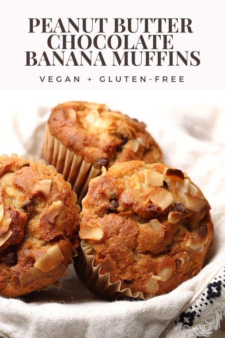 Peanut Butter Chocolate Banana Muffins Vegan And Gluten Free Recipe Peanut Butter Banana Muffins Banana Muffins Vegan Gluten Free Muffins