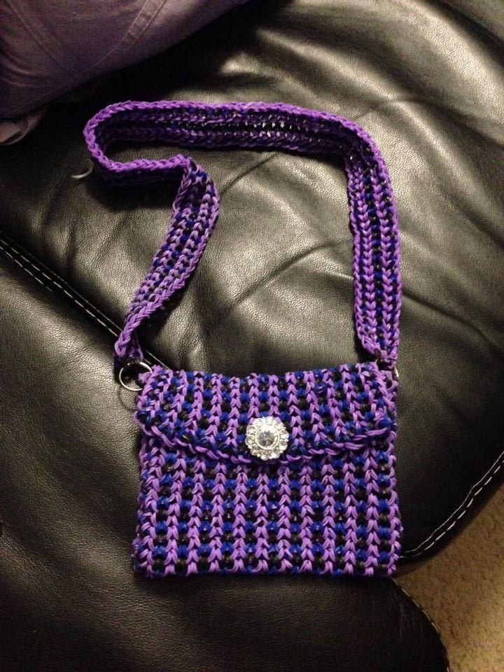 purple rainbow loom purse