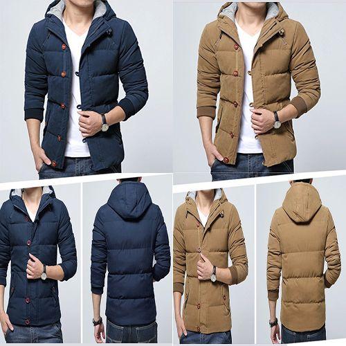 Mens Button Zipper Coat