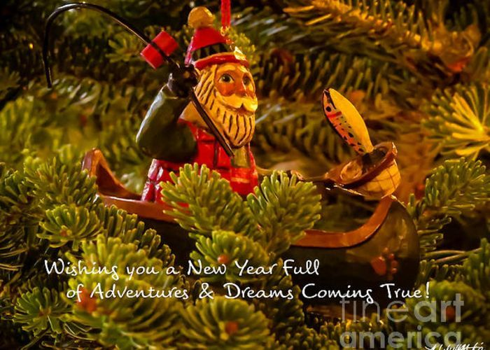"Santa in Canoe Fishing ""Wishing you a New Year FUll of Adventures & Dreams Coming True"" ~ Christmas card, Greeting Card, Holiday card, New Years card by Stephanie Forrer-Harbridge"