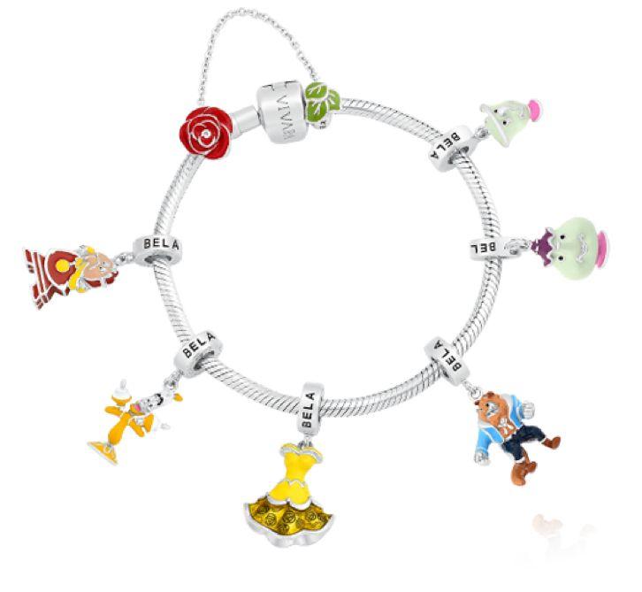 Pingentes para pulseira estilo charm da Pandora do filme da Disney A Bela e a Fera, da Life by Vivara!