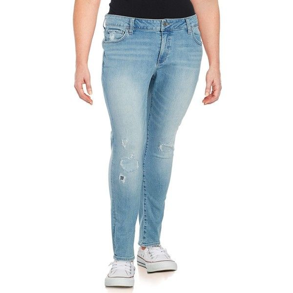 Lucky Brand Plus Women's Five-Pocket Ankle-Length Jeans ($30) ❤ liked on Polyvore featuring plus size women's fashion, plus size clothing, plus size jeans, blue, torn jeans, lucky brand jeans, distressed jeans, short pants and distressing jeans