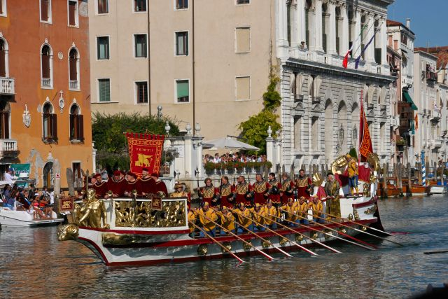 The ceremonial Bucintoro barge rowed by 18 men