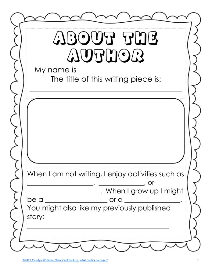 FREE About the Author PDF with Vocabulary Pages This free black and white printable includes: 2 options for about the author pages to add to any writing project 4 pages of vocabulary to help students write their author pages, which may be added to student writing resource folders  http://www.teacherspayteachers.com/Product/FREE-About-the-Author-PDF-with-Vocabulary-Pages-913088