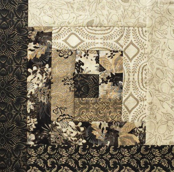 Moda Pre-cut 12 Block Log Cabin Quilt Kit - Black Tie Affair