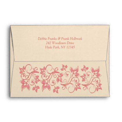 Champagne Coral Floral A7 Envelope for 5x7 Sizes - flower print gifts floral idea giftideas