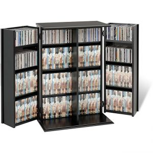 Mdf Wood Locking Dvd/Cd Media Storage Cabinet