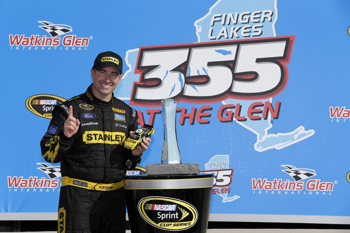 Marcos Ambrose celebrates his second consecutive win at The Glen after a wild last lap of racing. His No. 9 Stanley Ford Race Win die-cast is now available for pre-order at your local dealer, the NASCAR Superstore or the Lionel NASCAR web site: http://www.lionelnascarcollectables.com/RACE-WIN