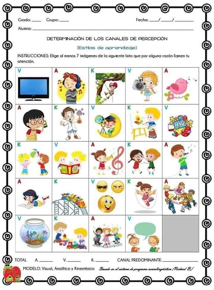 cuestionario de estilos de aprendizaje para niños de primaria pdf