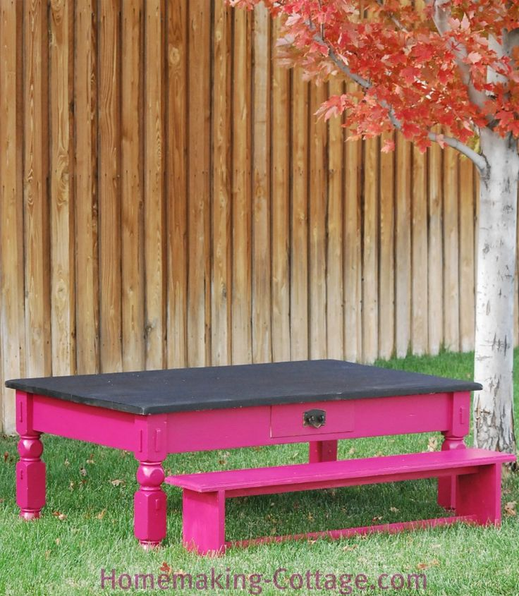 Make a Kid's Chalkboard Table with Benches - Homemaking Cottage &...