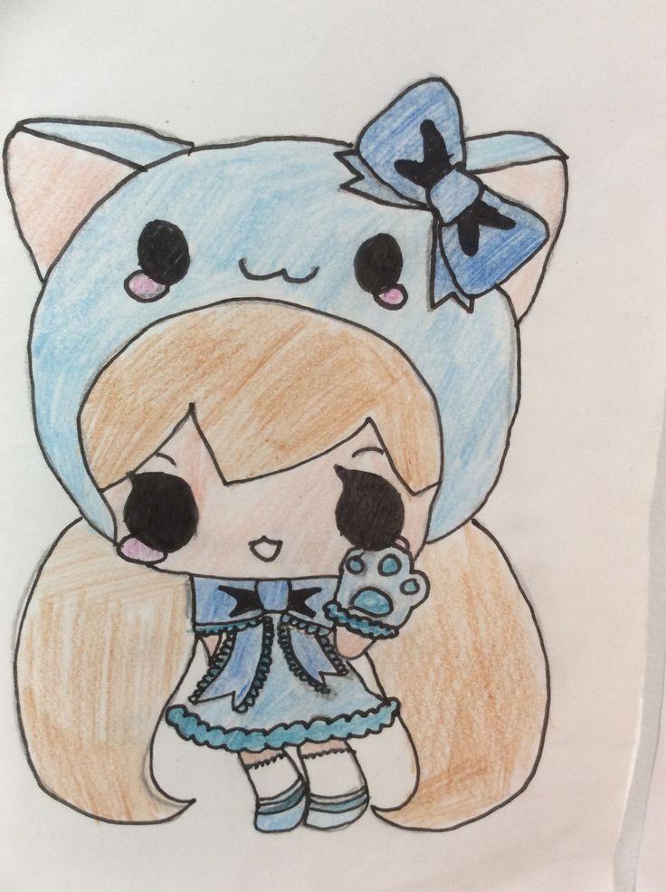 Kattenmeisje in blauw.