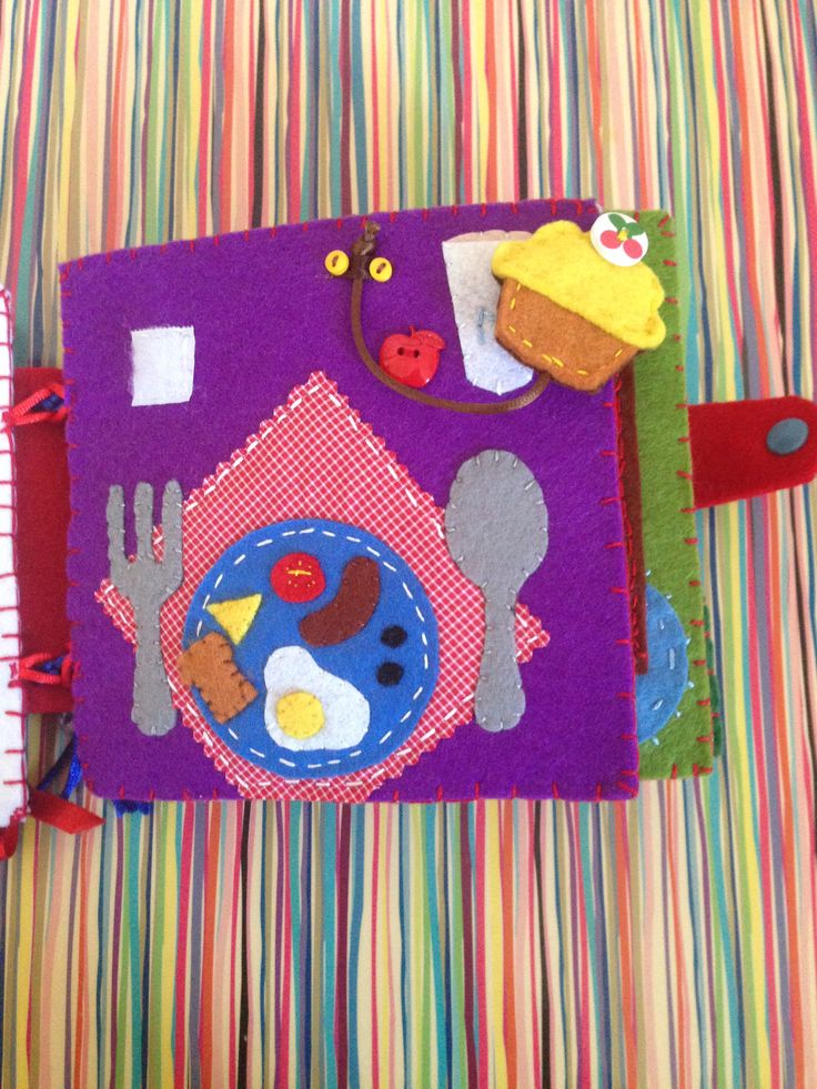 Felt Quiet Books - Breakfast Page with detachable cupcake. A page from Mila's quiet book