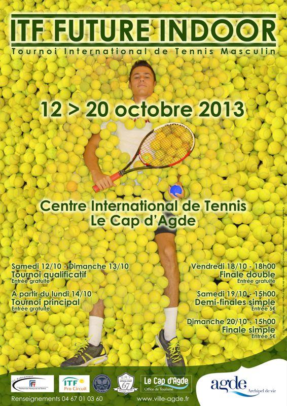 Tournoi professionnel de tennis masculin de 1er niveau comptant pour le classement mondial ATP - ITF Future Indoor du 12 au 20 octobre 2013 au Centre International de Tennis du Cap d'Agde - www.ville-agde.fr © Laurent Gheysens