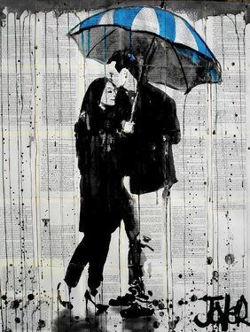 синий, пара, живопись, дождь, зонтик