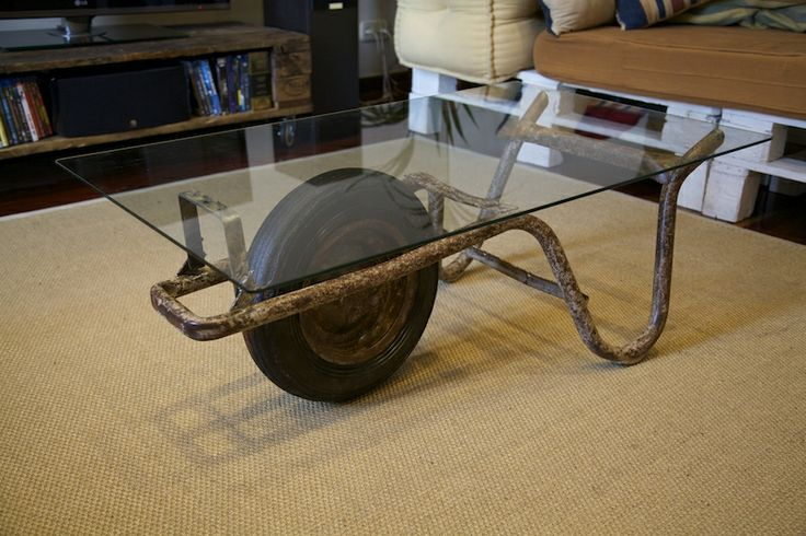 Table Basse Avec Jante De Voiture ~ Table Made With Recycled Construction Material Mesa Hecha Con Carro