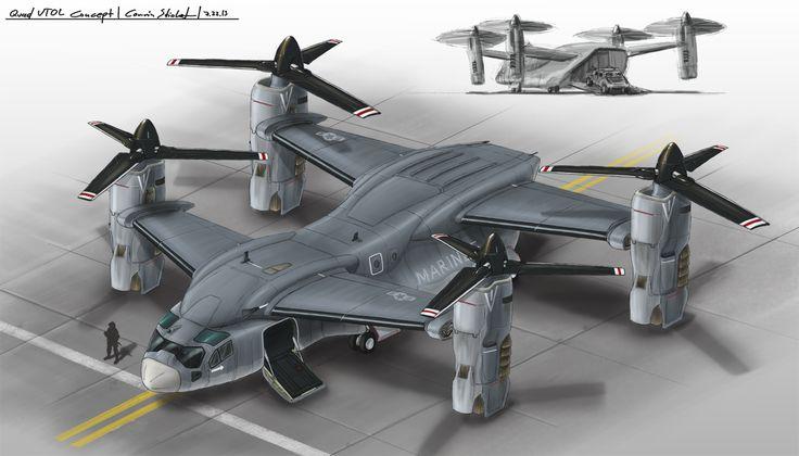 Quad VTOL Concept by Ferain.deviantart.com on @deviantART