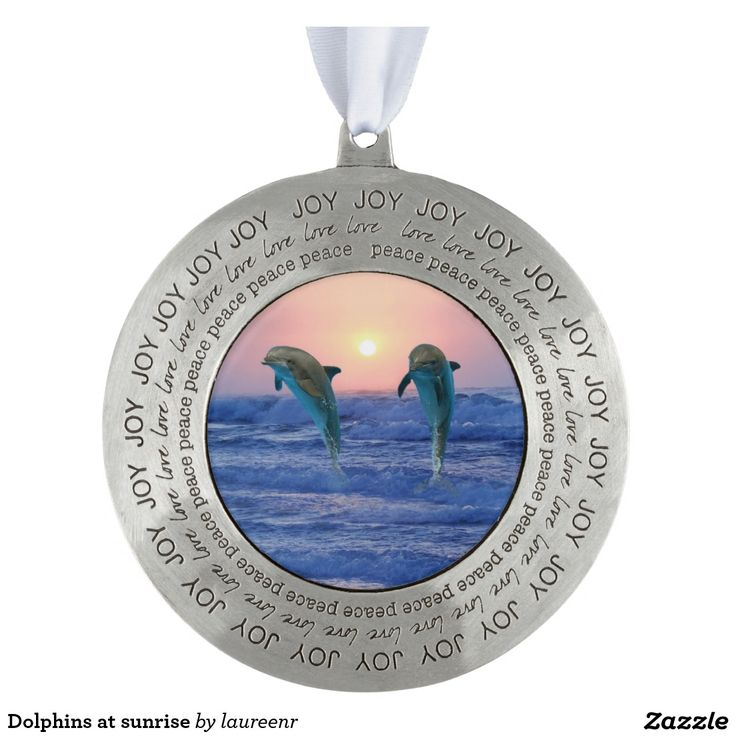 Dolphins at sunrise round pewter love ornament
