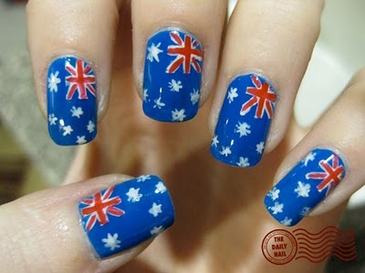 British/Australia Nails!! I really love these because my nails are usually bright blue anyways...but these add a fun pop!!