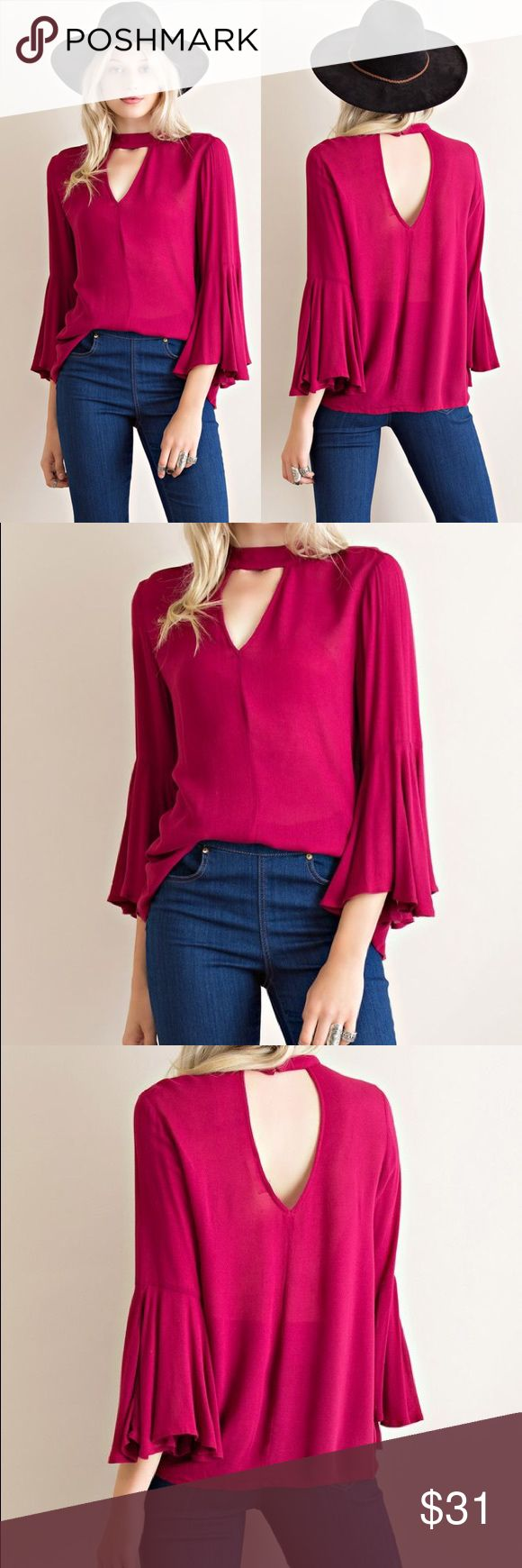1 MEDIUM LEFTBell Sleeve Choker Blouse NOT FREE PEOPLE...similar to Free People style. Bell sleeved chocker top featuring front and back cut outs...slightly sheer. Free People Tops