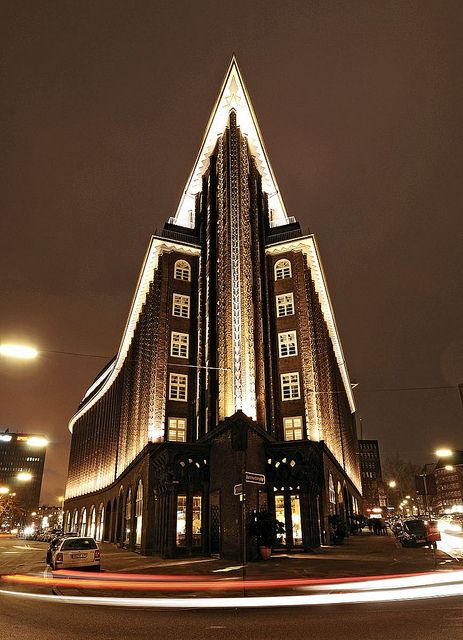 Chilehaus in Hamburg, by Fritz Höger. Apparently shaped like a passenger steamer if seen from above.